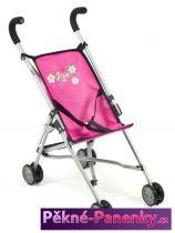 kočárek pro panenky Bayer Mini Buggy Roma růžový s kytkou