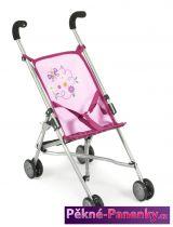 kočárek pro panenky Bayer Mini Buggy Roma růžový s motýlem