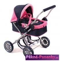 dětský kočárek pro panenky Bayer Smarty Pink Checker