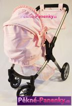 kočárek pro panenky Arias® Elegance 2x1 růžový s mašličkou