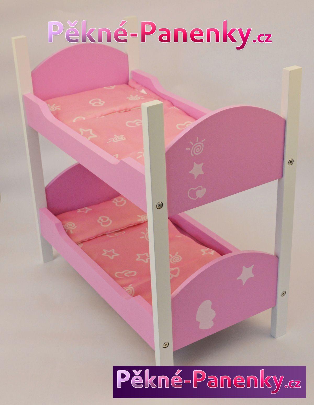 Arias levná patrová postýlka pro panenky, kvalitní nábytek pro panenky, hračky a dárky pro holčičky, cestovní dvoupatrová postel