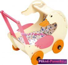 dřevěný dětský kočárek pro panenky - husa