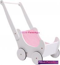 dřevěný dětský kočárek pro panenky bílo-růžový