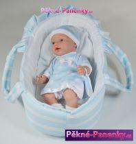 Realistické mluvící miminko Arias® Hanne modré s taškou 28cm