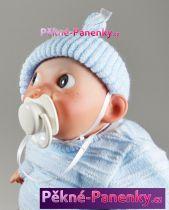 Realistické miminko šklebík modré 28cm