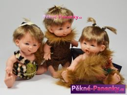 Realistické panenky – šklebíci neandrtálci (sada 3ks) 18cm