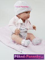 Realistické miminko Berbesa® Angeles s růžovo-šedým oblečkem a zavinovačkou 42cm