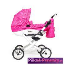 Dětský kočárek pro panenky JASMINE Kids růžový puntík