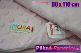 Dětská španělská deka do kočárku MORA® Topitos růžová 80x110cm