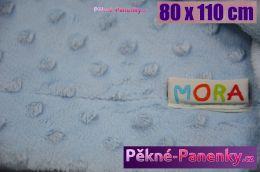 Dětská španělská deka do kočárku MORA® Topitos modrá 80x110cm