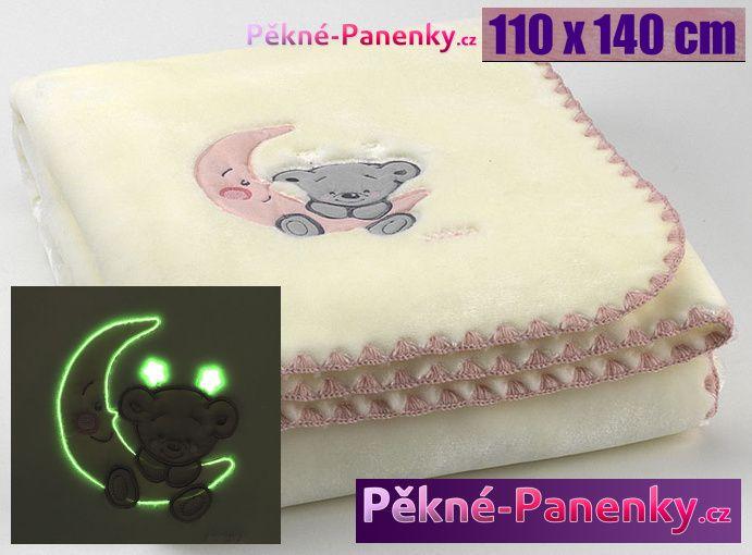 MORA luxusní svítící dětská deka do kočárku, deky mikroplyš