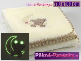 Dětská svítící španělská deka MORA® Baby Luz béžová 110x140cm