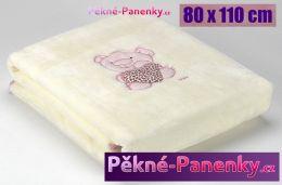 Dětská španělská deka do kočárku MORA® Petits růžová 80x110cm