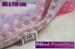 Dětská španělská zimní deka do kočárku MORA® KIDZ zvířátka růžová 80x110cm