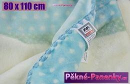 Dětská španělská zimní deka do kočárku MORA® KIDZ zvířátka modrá 80x110cm