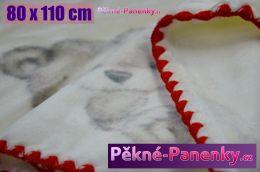 Dětská španělská zimní deka do kočárku MORA® KIDZ medvídek červená 80x110cm