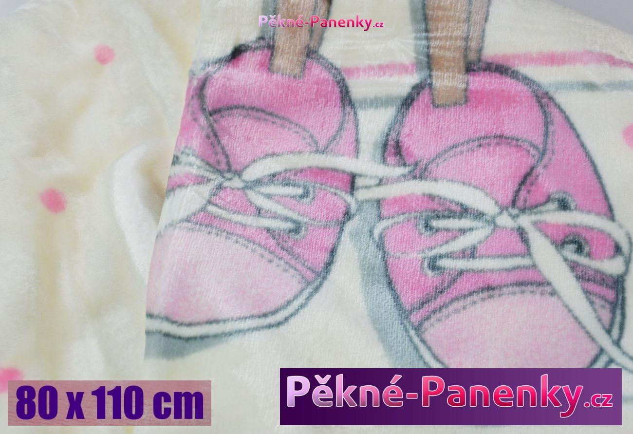 Dětská španělská zimní deka do kočárku MORA® KIDZ botičky růžová 80x110cm