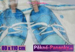 Dětská španělská zimní deka do kočárku MORA® KIDZ botičky modrá 80x110cm