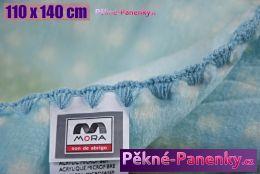 Dětská španělská zimní deka do kočárku MORA® KIDZ zvířátka modrá 110x140cm