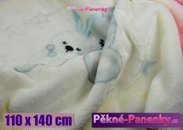 Dětská španělská zimní deka do kočárku MORA® KIDZ zvířátka růžová 110x140cm