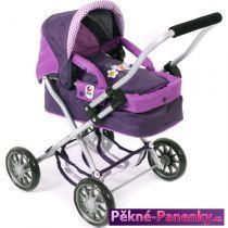 dětský kočárek pro panenky Bayer Smarty Purple Checker