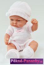 Realistické koupací miminko Antonio Juan® Pitus Mantita růžové s dečkou 26 cm