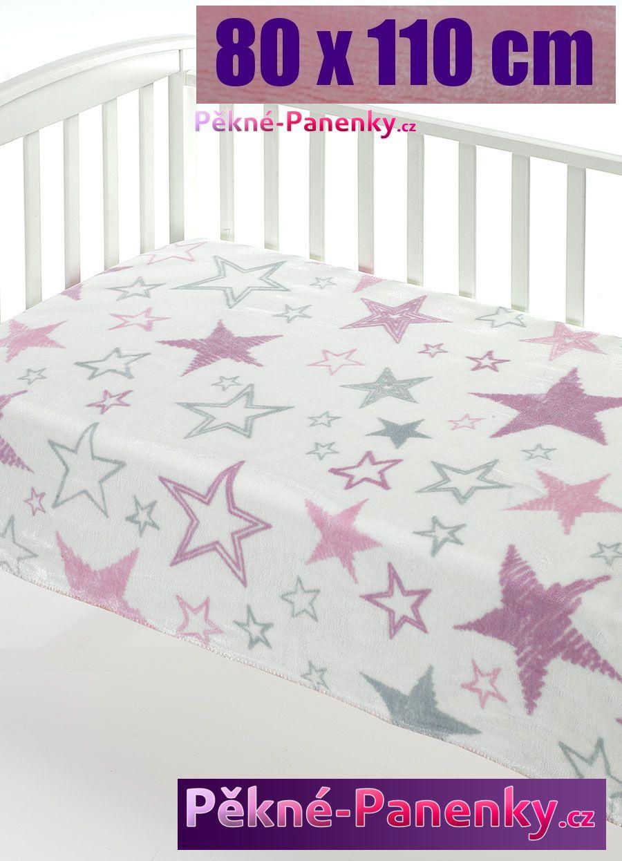 Dětská španělská deka do kočárku MORA® Color růžová 80x110cm