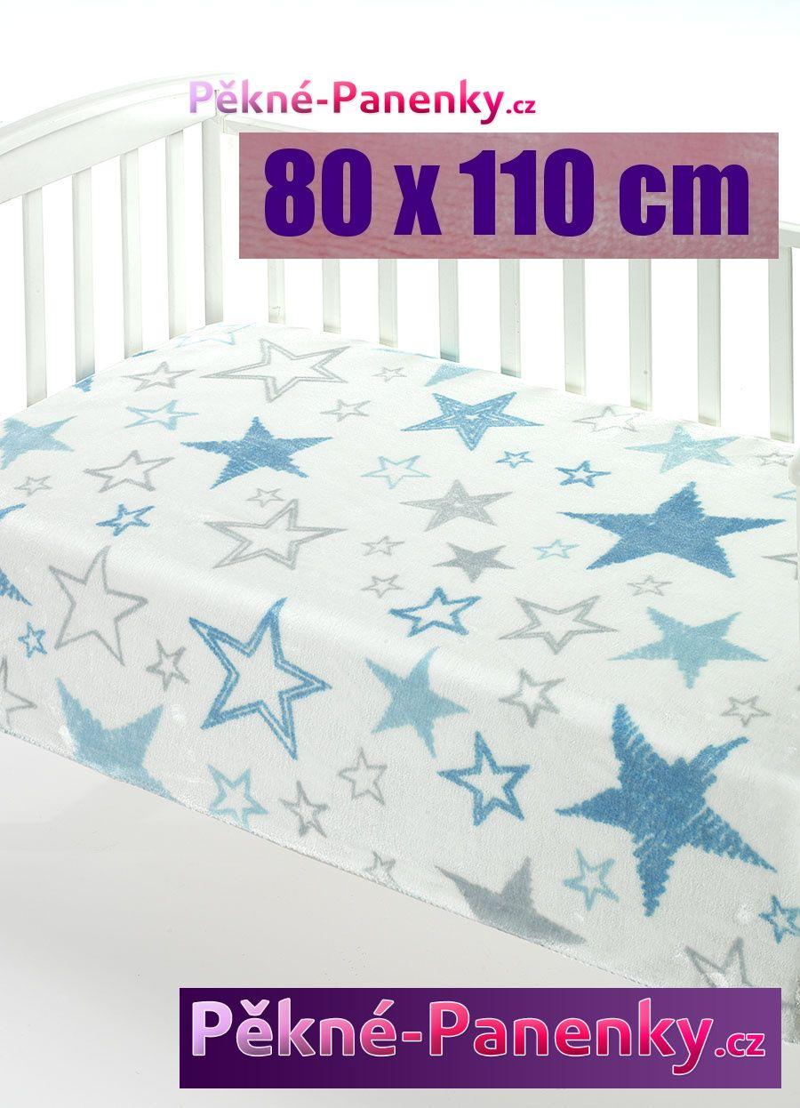 Dětská španělská deka do kočárku MORA® Color modrá 80x110cm