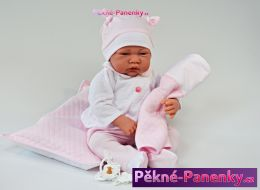 Mluvící realistická panenka Antonio Juan® Nacido s polštářkem 40cm