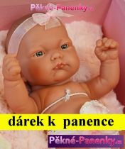 AKCE Realistické miminko Antonio Juan® Pitus holčička s polštářem 26 cm