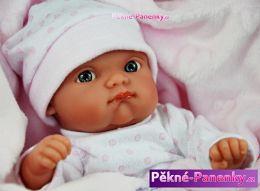 Realistické koupací miminko Antonio Juan® Mufly růžové s dečkou 21 cm