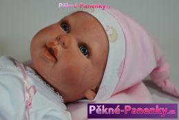 Reborn realistická panenka Arias® Mies růžová v kompletu 45 cm