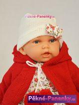 Mluvící realistická dětská panenka Antonio Juan® Petit holčička s červeným svetříkem 27cm