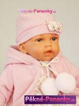 Mluvící realistická panenka miminko Antonio Juan® Petit holčička s růžovým svetříkem 27cm