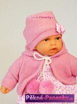 Mluvící mini realistická panenka Antonio Juan® Petit holčička s fialovým svetříkem 27cm