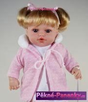 Mluvící mini realistická panenka Arias® Emma růžová 33cm