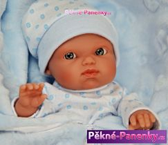 Realistické koupací miminko kluk Antonio Juan® Mufly modré s dečkou 21 cm